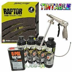 UPOL TINTABLE RAPTOR Liner Paint Ultra Tough Urethane Coating + Spray Gun RLT/S4