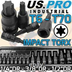 US PRO INDUSTRIAL Impact Torx Bit Socket Set 1/4 3/8 1/2 Drive 15pcs Sockets