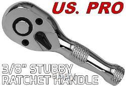 US. PRO TOOLS 3pc Stubby Ratchet Handle Set 1/4 3/8 1/2 Short Socket Wrenches
