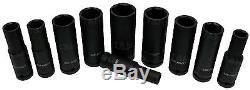 US. PRO TOOLS Thin Wall DEEP IMPACT Socket Set 1/2 Drive Long Reach Impact Socke