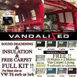 VAN SOUND DEADENING & INSULATION kit & free CARPET LINING VW T 2 2.5 3 4 T5 T6