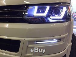 VW T5 Transporter Headlights Drl Light Bar 10 15 Brand New Free Phillips Bulbs