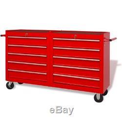VidaXL Werkstattwagen mit 10 Schubladen Rollwagen Werkzeugwagen XXL Stahl Rot