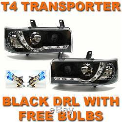 Vw T4 Transporter 90-03 Short Nose Black Drl Devil Eye R8 Head Lights Lamps New