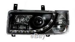 Vw T4 Transporter 90-03 Short Nose Black Drl Led R8 Style Devil Eye Headlights
