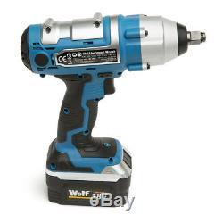 Wolf 18V Lithium Ion Cordless 380NM Torque Impact Wrench Gun Sockets 1/2 Drive