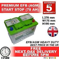 096 100 Start Stop Agm 78ah Heavy Duty 12v Batterie De Voiture Plus De Puissance Que L'aga / Efb