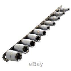10pc E Star Socket Set Torx Torq Couple Femelle 1/4 Et 3/8 Entraînement Rail De Stockage