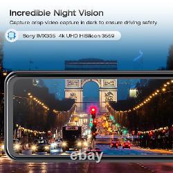 12'' Sony 4k Miroir Dash Appareil Photo Gps Avant Arrière Streaming Médias Voiture Dvr Enregistreur