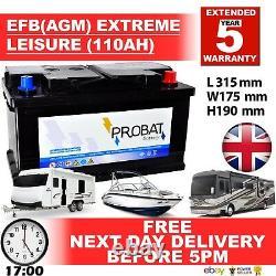 12v 110ah Efb (agm) Batterie De Loisirs Heavy Duty Low Height (100ah Amp) 110 Amp