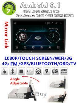 1din Réglable Android 9.1 10.1 1080p Quad-core 1 Go + 16 Go Car Stereo Radio Gps