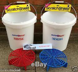 2 X Grit Garde Seaux Scratch Et Shields, Avec Autosmart Étiquettes 20l Litres