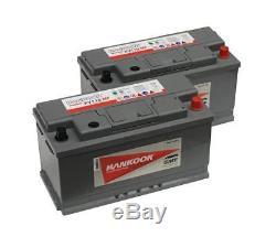 2x Batterie De Loisirs Profonde 12v Hankook 110ah À Cycle Intense Pour Loisirs