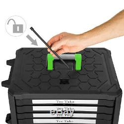 300 Boîte À Outils Pc Avec Rangement Kit D'outils Chariot Mobile Sur Roues Avec 4 Tiroirs