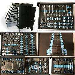 474 Us Pro Coffre À Outils Boîte Avec Des Outils Plateaux 7 Tiroirs Cabinet Rouleau 250 Pc