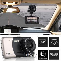4 1080p À Double Objectif Voiture Dash Cam Avant Et Arrière Caméra Dashboard Dvr Recorder 170
