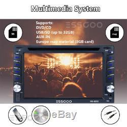 6.2 Double 2 Din Voiture Lecteur CD DVD Radio Stéréo Gps Sat Nav Caméra Arrière