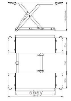 Ab-mr3500 3.5 Tonne Rampe De Ciseaux De Levage De Voiture 3 Ans Garantie £1350 + Tva