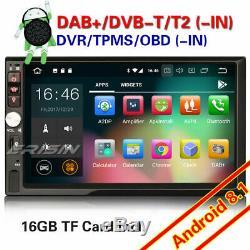 Android 8.1 Double Din Voiture Stéréo Sat Nav Gps Dab + Bluetooth 4g Tpms Wifi Dvb Swc