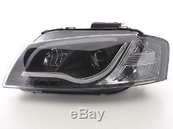 Audi A3 2003-2008 8p1 Hatchback Noir Paire De Phares Pour Projecteur À Bandes Lumineuses