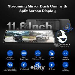 Azdome 11.8 Miroir Voiture Dash Caméra Écran Tactile Double Avant Et Arrière Cam