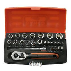 Bahco Sl25 Socket Set 25 Pièce 1/4 Drive With Ratchet & Case (bacho Barco)