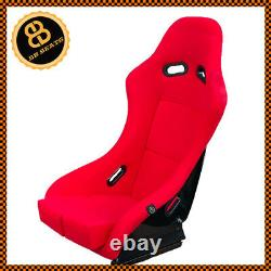 Bb5 Rouge Fibre De Verre Fixe Narrow Slim Racing Bucket Seat + Montures Latérales & Runners