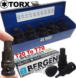 Bergen Impact Torx Bit Jeu De Douilles 1/2 Entraînement Douilles Impact Tx Star T20 À T70