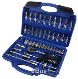 Bergen Jeu De Douilles 46pc 1/4 Jeu D'outils Avec Adaptateur De Cliquet Torx Hex Uj Pz
