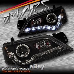 Black Drl Led Head Lights Ford Falcon Fpv Ba Bf Berline Ute Xr6 Turbo Xr8 Xr