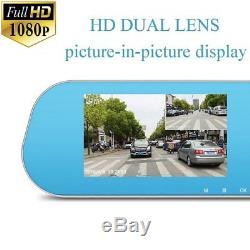 Caméra Enregistreur De Véhicule Dvr Rétroviseur Uk 1080p 4.3 Miroir Dash Cam Double Objectif