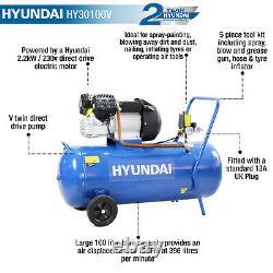 Compresseur D'air 100l Litre V-twin 3hp 14cfm 115psi 8bar 5pc Kit D'outils D'air Hyundai