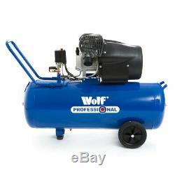 Compresseur D'air Wolf Pro 100l 14.6 Pcm 3hp 116psi V-twin 100 Litres