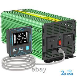 Edecoa Power Inverter 12v À 240v 3000w 6000w Convertisseur Uk Voiture Camper LCD Usb