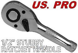 États-unis. Pro Tools 3pc Stubby Cliquet Poignée Ensemble 1/4 3/8 1/2 Socket Courte Clés