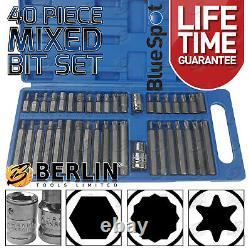 Hex Torx Star & Spline Bit Socket Set 3/8 & 1/2dr Long & Short Reach Allen Key