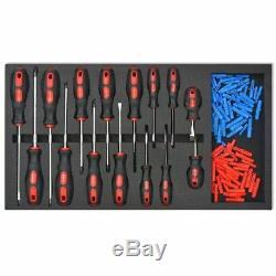 La Boîte Mobile De Coffre De Stockage De Chariot À Outil D'atelier Avec Les Outils111125 Verrouillent Le Rouge D'acier