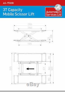 Mobile Scissor Car Lift / Lift Véhicule / Ramp Palan 3000 KG / MID Plateforme Rise