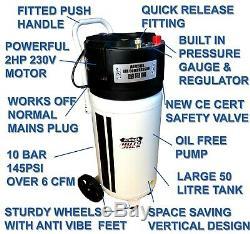 Portable 50 Litres Compresseur D'air Sans Huile Réservoir Vertical 2hp 10 Bar Cfm 50l 240v