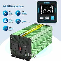 Power Inverter 2000w 4000w DC 12v À Ac 240v Usb LCD Uk Plugs Car Camper Edecoa