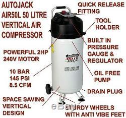 Réservoir Vertical Exempt D'huile 2hp 10 De Compresseur D'air Portatif De 50 Litres Cfm 50l 240v