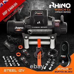 Rhino Winch Electric Recovery, 12v 13500lb Carbon Heavy Duty 4x4 Câble D'acier