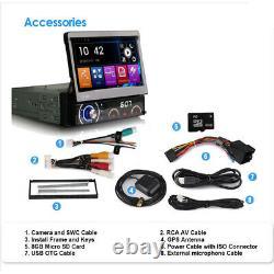 Single Din Satnav Car Radio Flip Out Bluetooth Dab Gps CD Stereo Head Unit 7