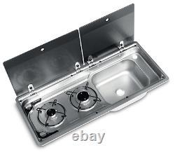 Smev Dometic 9722 Campervan Sink & Cooker / Hob Combi Unit Kit Rh 10l & Template