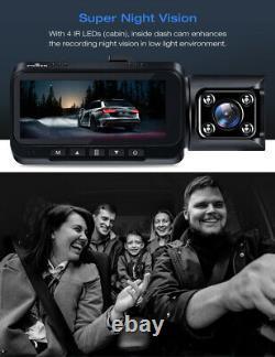 Toguard 4k+1080p Double Dash Cam 3 Avant Intérieur Cabine Gps Voiture Caméra De Nuit Vision