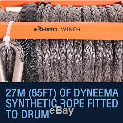 Treuil Électrique De Récupération 12v 13500lb, Corde Synthétique Résistante Rhino De 4x4 Dyneema
