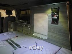 Unité De Cuisine Vw Transporter T4 T5 Swb Camper Van, Plis Légers En Bois Flotté Gris