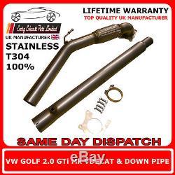 Vw Golf Gti Mk5 Mk6 Fsi En Acier Inoxydable T304 Decat Et Plongeur 3 Bore Uk Made