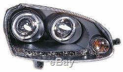 Vw Golf Mk5 04-09 Black Halo Angel Eye Projecteur + Led Phares Avant Lumières