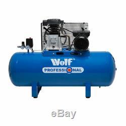Wolf Compresseur D'air 150 Litres 3hp 14cfm 240v Pompe À Double Cylindre Pompe À Courroie